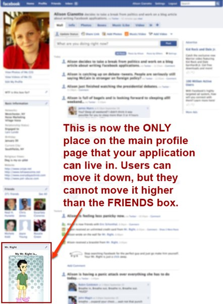 New Facebook application profile box