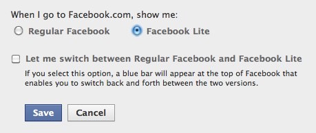 Set Facebook Lite as your default in your settings